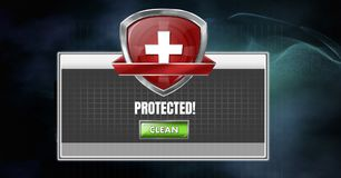 Health and Antivirus security protection shield software Royalty Free Stock Image