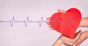 Heart beat over hands_Heart beat over hands_0015. Digital composite of Heart beat over hands_Heart beat over hands_0015 royalty free stock images