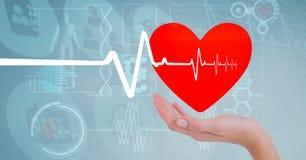 Heart beat over hands holding heart. Digital composite of Heart beat over hands holding heart stock photo