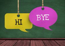 Hi Bye text on hanging paper speech bubbles. Digital composite of Hi Bye text on hanging paper speech bubbles Stock Photography