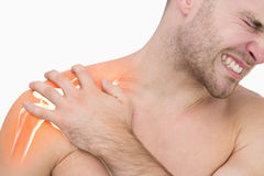 Digital composite of highlighted shoulder pain of man Stock Images