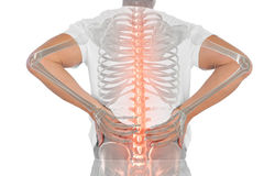 Digital composite of highlighted spine of man with back pain. Against white background royalty free stock photos
