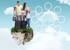 Holiday Family on floating rock platform  in sky with connectors mind map interface. Digital composite of Holiday Family on floating rock platform  in sky with Stock Images