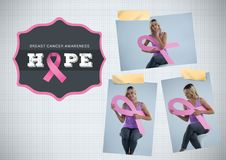 Hope text and Breast Cancer Awareness Photo Collage. Digital composite of Hope text and Breast Cancer Awareness Photo Collage Stock Image