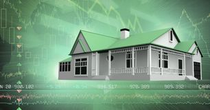 House with financial economic interface. Digital composite of House with financial economic interface Royalty Free Stock Photos