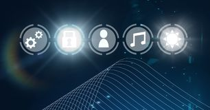 Icons interface of Internet Of Things over blue background Stock Photography