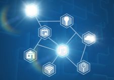 Icons interface of Internet Of Things over blue background Stock Photo
