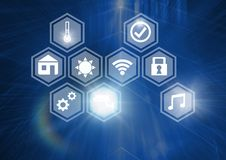 Icons interface of Internet Of Things over blue background Royalty Free Stock Image
