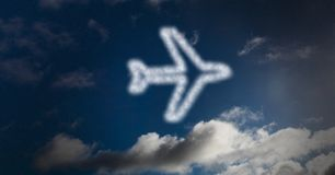 Digital composite image of airplane shape in sky Royalty Free Stock Photos