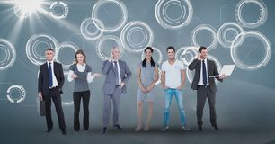 Digital composite image of business people on abstract  background Stock Photo