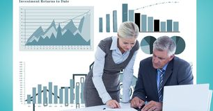 Digital composite image of business people with file folder and documents discussing against graphs. Digital composite of Digital composite image of business Royalty Free Stock Images