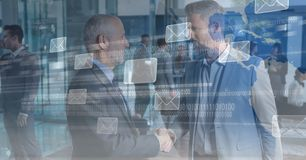 Digital composite image of business people shaking hands with message icons and binary code on scree stock illustration