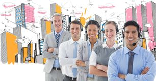 Digital composite image of business people using headphones with buildings in background. Digital composite of Digital composite image of business people using royalty free stock photos
