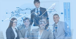 Digital composite image of business people with  world map. Digital composite of Digital composite image of business people with  world map Royalty Free Stock Image