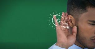 Digital composite image of businessman listening idea. Digital composite of Digital composite image of businessman listening idea Royalty Free Stock Image