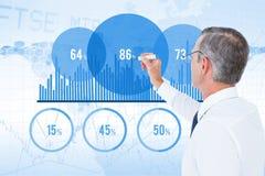 Digital composite image of businessman making chart on screen. Digital composite of Digital composite image of businessman making chart on screen Stock Images