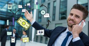 Digital composite image of businessman talking on smart phone with various icons. Digital composite of Digital composite image of businessman talking on smart Royalty Free Stock Photography