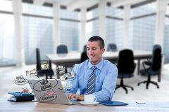 Digital composite image of businessman using laptop with web design icons in foreground. Digital composite of Digital composite image of businessman using laptop Stock Photo