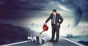 Digital composite image of businessman watering employees on highway with cityscape in background stock illustration
