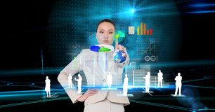 Digital composite image of businesswoman with touching screen Royalty Free Stock Photos
