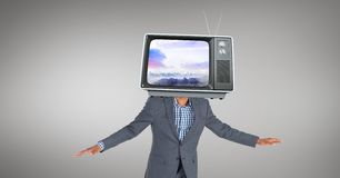 Digital composite image of businesswoman with TV in front of face Stock Image