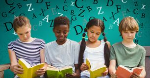 Digital composite image of children studying on sofa with letters flying in background. Digital composite of Digital composite image of children studying on sofa stock illustration