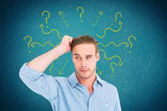 Digital composite image of confused man with arrows and question marks. Digital composite of Digital composite image of confused man with arrows and question stock photography