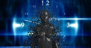 Digital composite image of 3d female over clock Royalty Free Stock Image