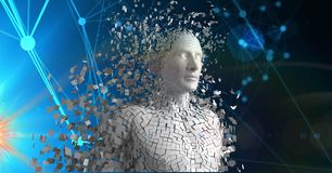 Digital composite image of 3d scattered human figure Royalty Free Stock Photography