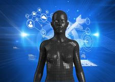 Digital composite image of 3d woman with graphics Royalty Free Stock Image
