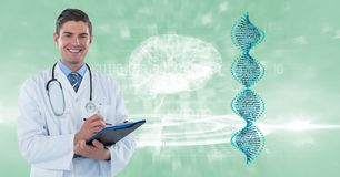 Digital composite image of doctor with clipboard by DNA and brain structures. Digital composite of Digital composite image of doctor with clipboard by DNA and stock image