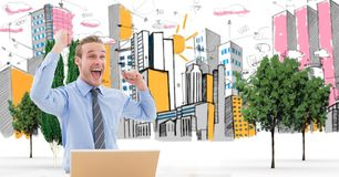 Digital composite image of excited businessman celebrating against drawn city Royalty Free Stock Photos