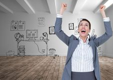 Digital composite image of excited businesswoman with arms raised standing against office drawings Royalty Free Stock Photo
