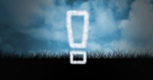 Digital composite image of exclamation mark on field. Digital composite of Digital composite image of exclamation mark on field Stock Images