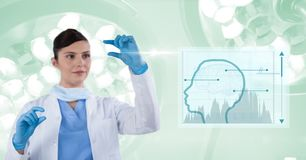 Digital composite image of female doctor gesturing by human shape Stock Image