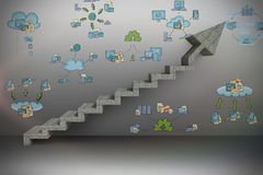 Digital composite image of gray steps moving up Stock Photography