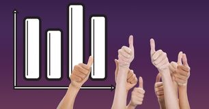 Digital composite image of hands gesturing thumbs up against graph Stock Image
