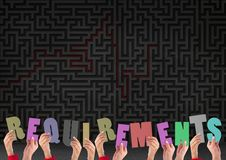 Digital composite image of hands holding requirements cutouts. Against maze in the background stock photo