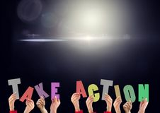 Digital composite image of hands holding take action cut outs. Against black background Royalty Free Stock Photography