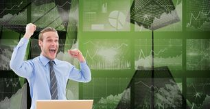 Digital composite image of happy businessman with tech graphics in background Royalty Free Illustration
