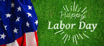 Composite image of digital composite image of happy labor day and god bless america text Stock Photo