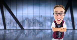 Digital composite image of happy nerd standing arms crossed Royalty Free Stock Photo