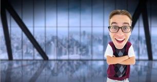 Digital composite image of happy nerd standing arms crossed. Digital composite of Digital composite image of happy nerd standing arms crossed Royalty Free Stock Photo