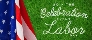 Composite image of digital composite image of join celebratio event labor day text Royalty Free Stock Photography