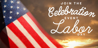 Composite image of digital composite image of join celebratio event labor day text Royalty Free Stock Image
