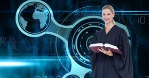 Digital composite image of judge against virtual screen Stock Photo