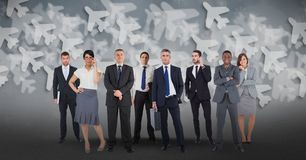 Digital composite image of multi ethnic business people with airplane background vector illustration
