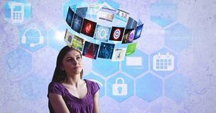 Digital composite image of panels flying over woman`s head. Digital composite of Digital composite image of panels flying over woman`s head Stock Photos
