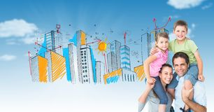Digital composite image of parents carrying children on shoulders with drawn city in background Stock Images