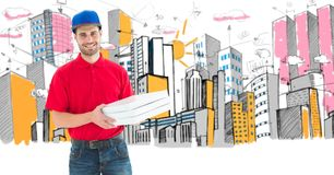 Digital composite image of pizza delivery man holding boxes standing against buildings. Digital composite of Digital composite image of pizza delivery man royalty free stock photography